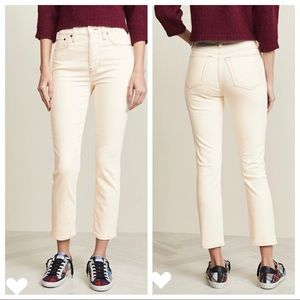 Re/Done   Winter White Corduroy Jeans Size 27